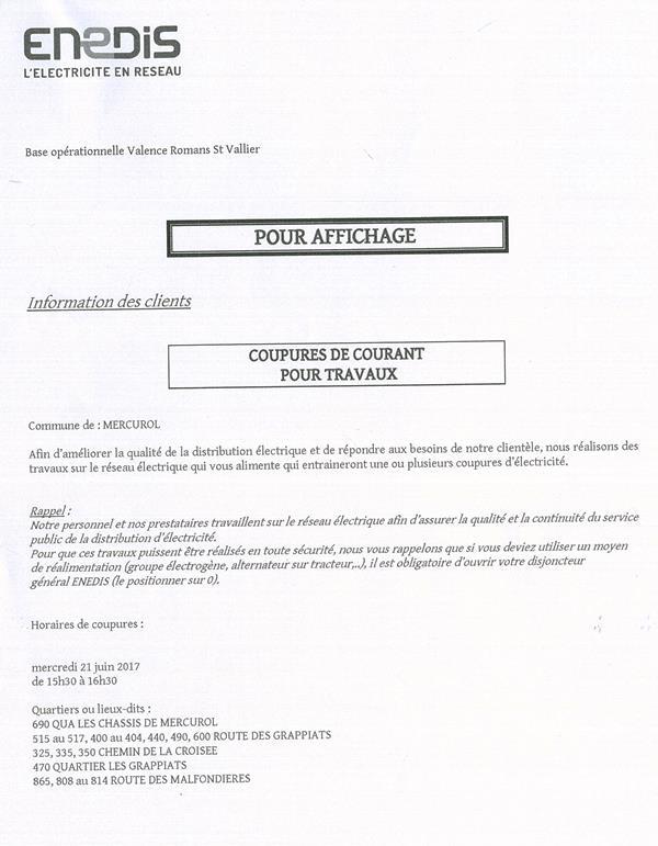 coupures ENEDIS 21 06 2017